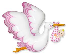 Folie Ballon Baby Girl Ooievaar Roze (leeg)