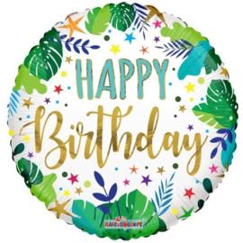 Folie Ballon Happy Birthday Jungle Leaves (leeg)