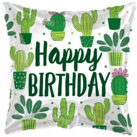 Folie Ballon Pillow Happy Birthday Cactus (leeg)