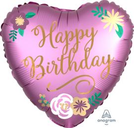 Folie Ballon Satin Birthday Flowers (leeg)