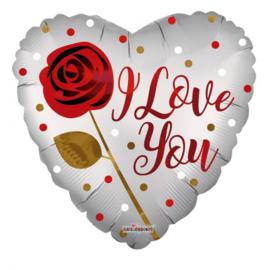 Folie Ballon I Love You Rose (leeg)