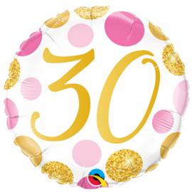 Folie Ballon Pink & Gold Dots - 30 (leeg)