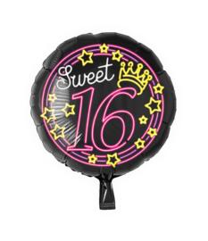 Folie Ballon Neon Sweet 16 (leeg)