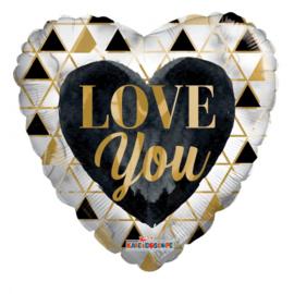 Folie Ballon Love You Gold & Black (leeg)
