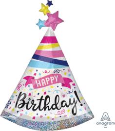 Folie Ballon  Happy Birthday Feestmuts (leeg)