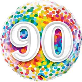 Folie ballon Rainbow Confetti - 90 (leeg)