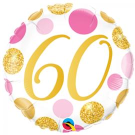 Folie Ballon Pink & Gold Dots - 60 (leeg)