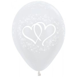 Latex Ballonnen All Over Wedding Hearts Pearl White