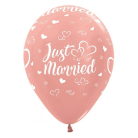 Latex Ballonnen Just Married Rosegold