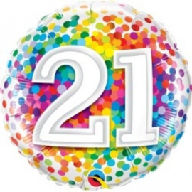 Folie ballon Rainbow Confetti - 21 (leeg)