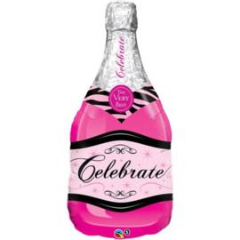 Folie ballon Champagne Bottle Roze (leeg)