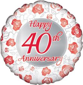Folie ballon Happy 40th Anniversary (leeg)