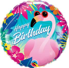 Folie Ballon Happy Birthday Flamingo (leeg)