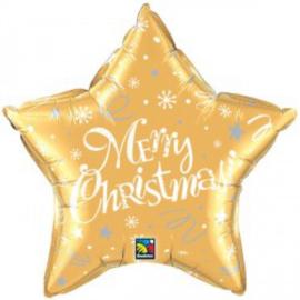 Folie Ballon Merry Christmas Star Gold(leeg)