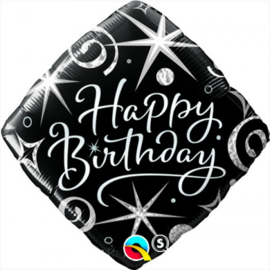 Folie ballon Square Birthday Elegant Sparkles & Swirls  (leeg)