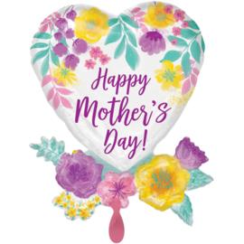Folie Ballon Happy Mother's Day Flower (leeg)