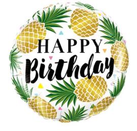 Folie ballon Birthday Golden Pineapples (leeg)