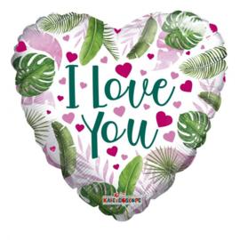 Folie Ballon Eco Love Hearts Leaves (leeg)