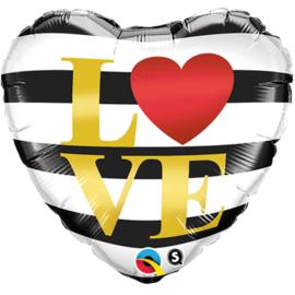 Folie Ballon Love Strepen (leeg)