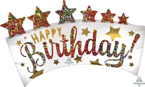 Folieballon Happy Birthday glitter (leeg)