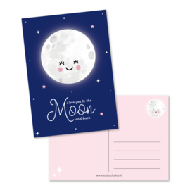 Postkaart - I love you to the moon and back