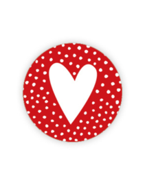 Wensetiket   Hartje rood met stippen   10 stuks
