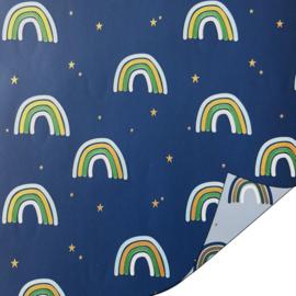 Inpakpapier   Rainbow blauw 30CM x 3M
