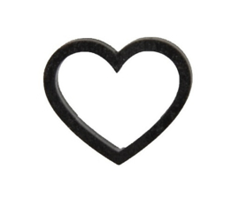 Cadeaulabel | Houten hartje zwart - 4 stuks