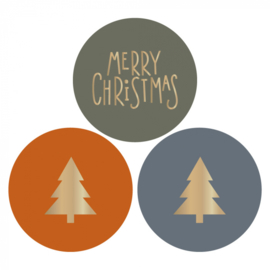 Sticker   Kerstboom/ tekst mix   9 stuks
