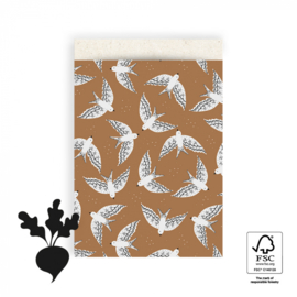 Cadeauzakjes   Birds cognac 17x25 CM - 5 stuks