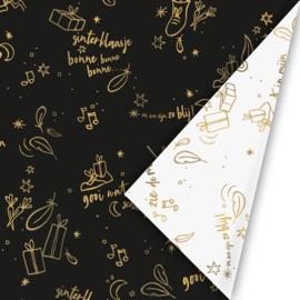 Inpakpapier | Sing along zwart/goud - 3M