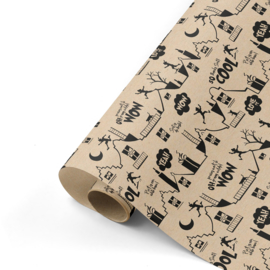 Inpakpapier | Cool Sint kraft/zwart - 3M