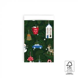 Cadeauzakje | X-mas Ornaments 12x19 CM - 5 stuks