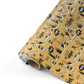 Inpakpapier | Cool Sint goud/zwart - 3M