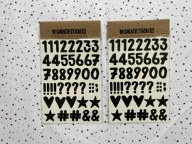 Decoratiestickers Cijfers en tekens - 2 vellen