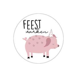 Sticker | Feestvarken | 10 stuks