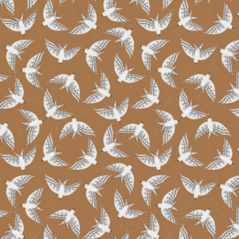 Inpakpapier   Birds cognac 30CM x 3M