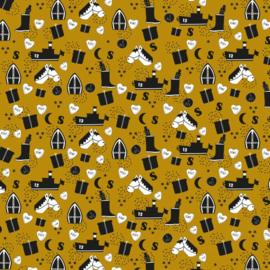 Cadeauzakje | Sint Illustratie Kraft geel 7x13 CM - 5 stuks