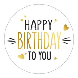 Wensetiket   Happy birthday to you   10 stuks