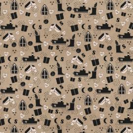 Cadeauzakje | Sint Illustratie Kraft  zwart 17x25 CM - 5 stuks
