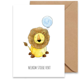 Wenskaart | Geboorte jongen - leeuw
