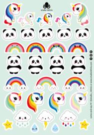 Stickervel A5 32 stickers Eenhoorn, Panda, Regenboog