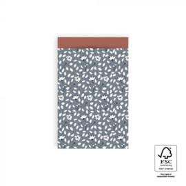 Cadeauzakjes   Flowers Liberty - Sky blue 12x19 CM - 5 stuks