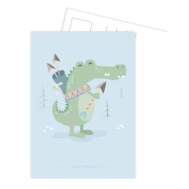 Ansichtkaart | Boho krokodil