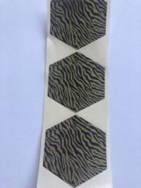 Sticker zebra print zwart/goud - 10 stuks