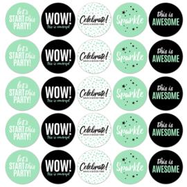 Sticker | Let's party mint/zwart | 10 stuks
