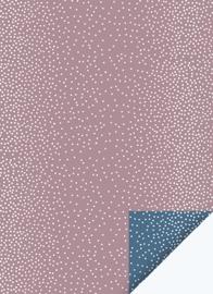 Inpakpapier| Dots Mauve/Nightblue  | 30CM x 3M