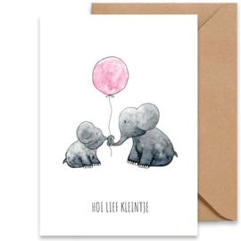 Wenskaart | Geboorte meisje - olifantjes