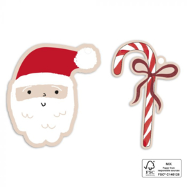 Cadeaulabel | Kerstman & snoepstok