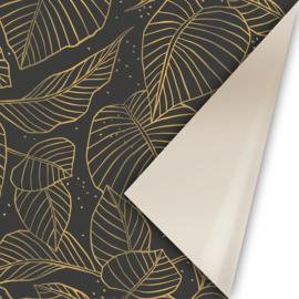 Lovely Leaves zwart/goud   50CM x 3M
